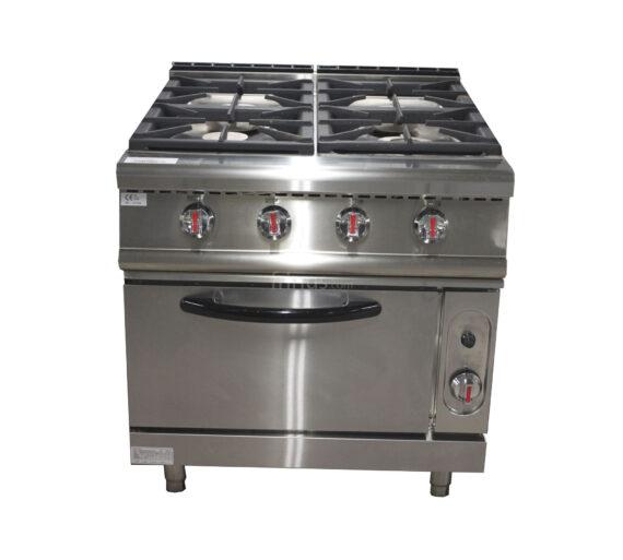 Cocina a gas 4 fuegos con horno maquinaria hosteler a - Cocina con horno ...